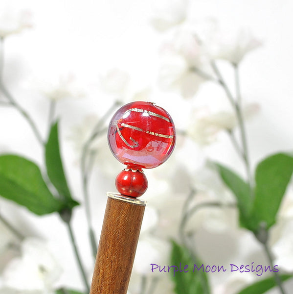 "Red Hairstick Japan Hair Stick - ""Red Skies"""