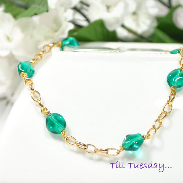 "Teal on Gold Chain Anklet, 9.5"" - Purple Moon Designs - 1"