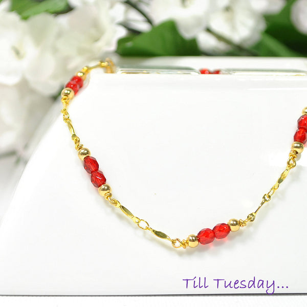 "Red on Gold Chain Anklet, Gold Chain with Bright Red Beaded Accents, 9.5"" - Purple Moon Designs - 1"