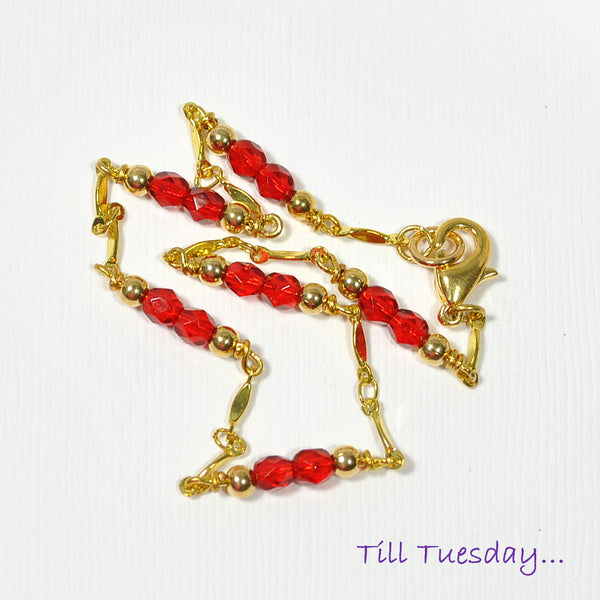 "Red on Gold Chain Anklet, Gold Chain with Bright Red Beaded Accents, 9.5"" - Purple Moon Designs - 2"