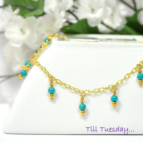 "Blue Charm Anklet on Gold Chain, 9.5"" Anklet - Purple Moon Designs - 1"