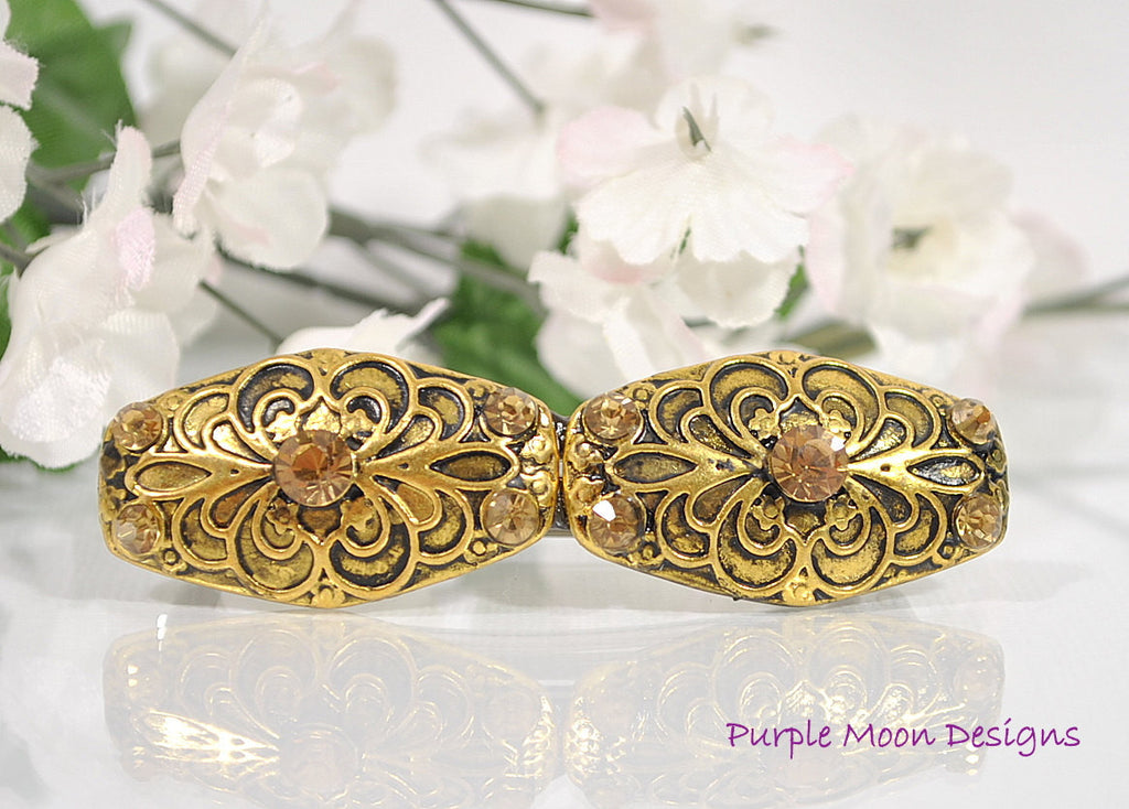 Gold Hair Barrette, Elegant Hair Clip - Handmade by Purple Moon Designs