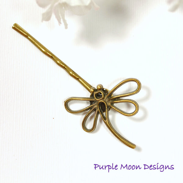 Dragonfly Hair Pin - Bronze Dragonfly Bobby Pin - Purple Moon Designs - 3
