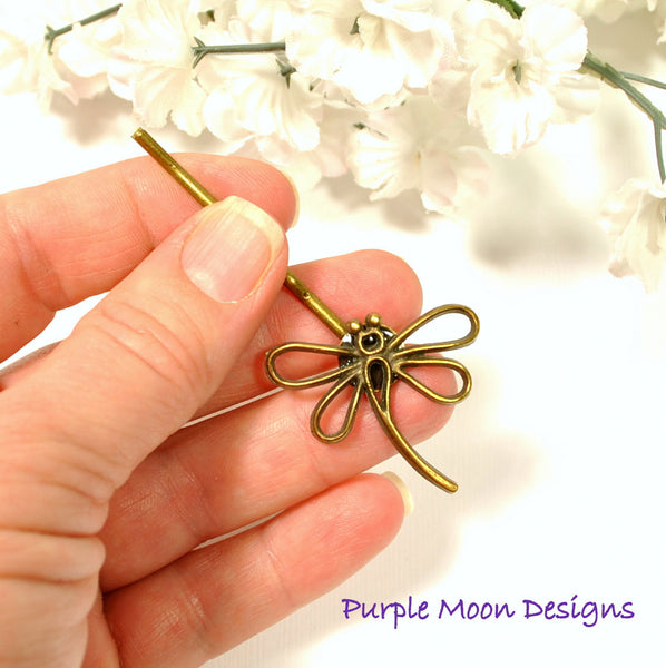 Dragonfly Hair Pin - Bronze Dragonfly Bobby Pin - Purple Moon Designs - 5