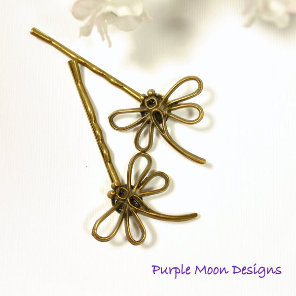 Dragonfly Hair Pin - Bronze Dragonfly Bobby Pin - Purple Moon Designs - 4