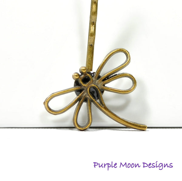 Dragonfly Hair Pin - Bronze Dragonfly Bobby Pin - Purple Moon Designs - 2