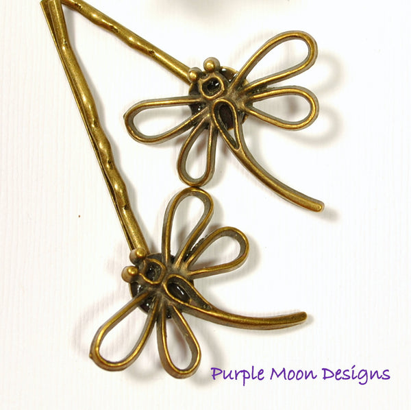 Dragonfly Hair Pin - Bronze Dragonfly Bobby Pin - Purple Moon Designs - 1