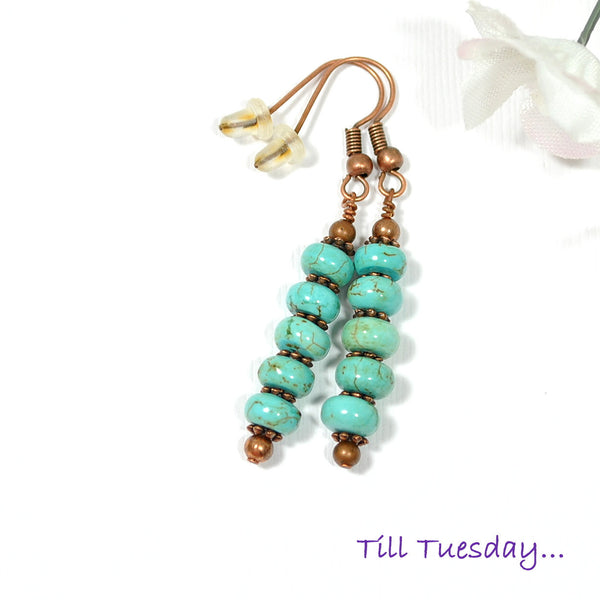 Blue with Copper Dangle Earrings, 2 inch - Handmade by Purple Moon Designs