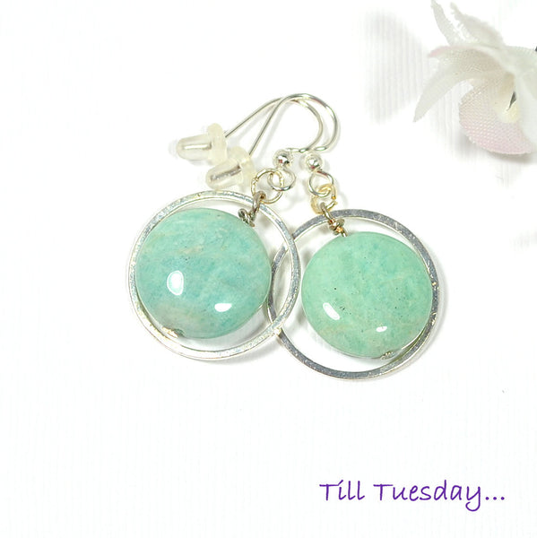 Light Blue with Silver Dangle Earring - Handmade by Purple Moon Designs