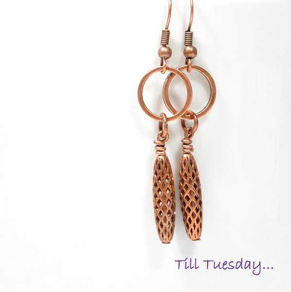 Copper Dangle Earrings, 2 inch - Handmade by Purple Moon Designs