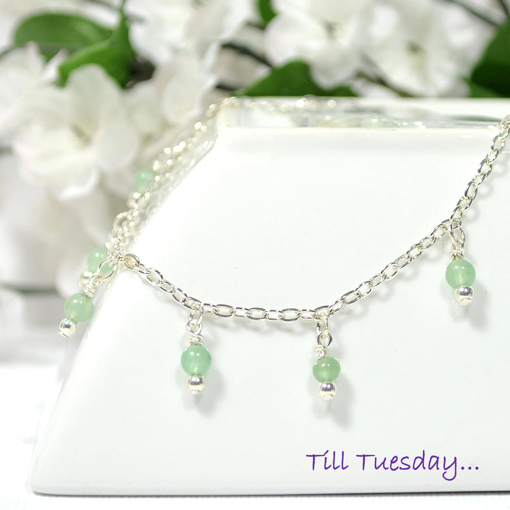 "Light Green Stone on Silver Chain Anklet, 9.5"" Ankle Bracelet - Purple Moon Designs - 1"