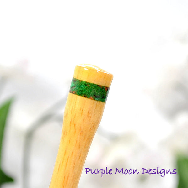 Green Malachite Hair Stick 6 inch Banded Hairstick - Handmade by Purple Moon Designs