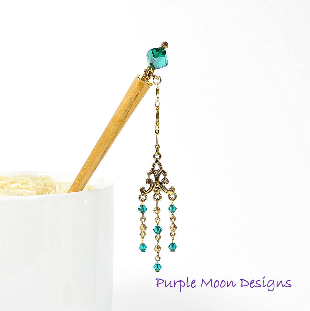 Teal Blue Geisha Charm Hair Stick, 4 inch Hair Stick - Purple Moon Designs - 1
