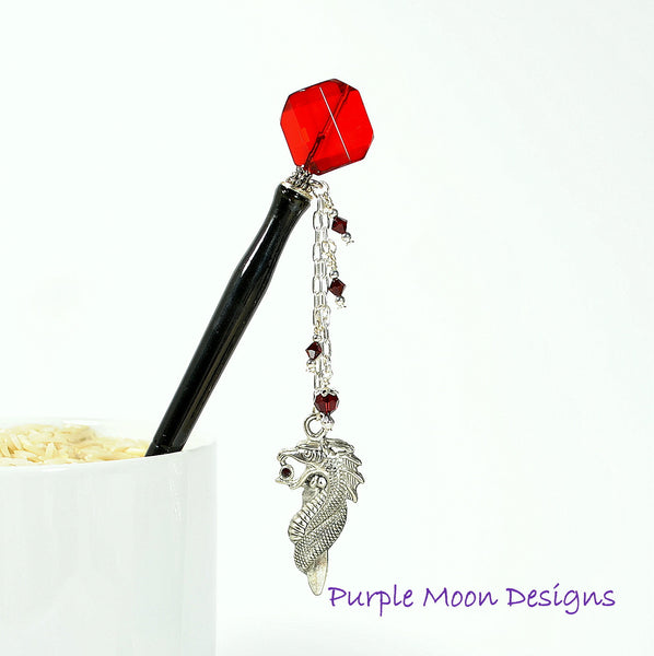 RedDragon Charm Hair Stick, Red Geisha Hairstick - Purple Moon Designs - 1
