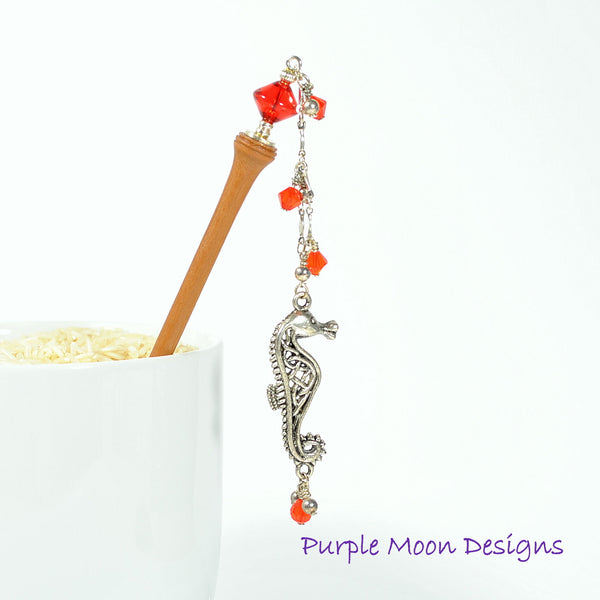 Seahorse Charm Hair Stick, Geisha Hairstick 4 inch - Purple Moon Designs - 1