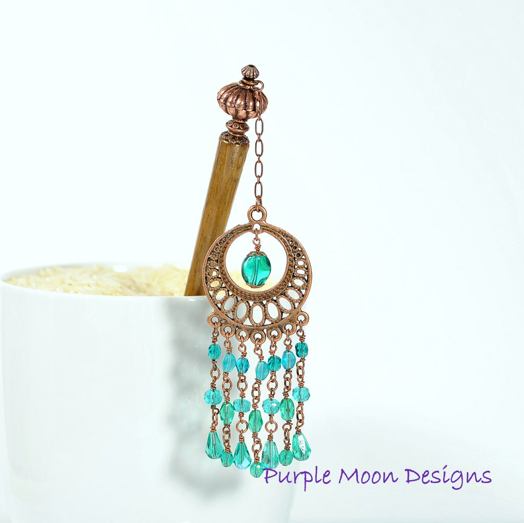 Teal and Copper Chandelier Hairstick, Gypsy Hair Accessory, 5 inch - Purple Moon Designs - 1