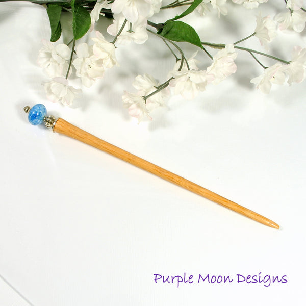 "Denim Blue Hair Stick 5.5 inch Wood Hairstick - ""Going Mad"" - Handmade by Purple Moon Designs"