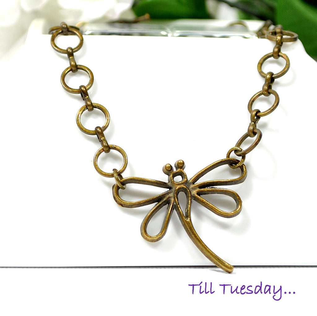 Dragonfly Anklet, Bronze Charm Ankle Bracelet - Handmade by Purple Moon Designs