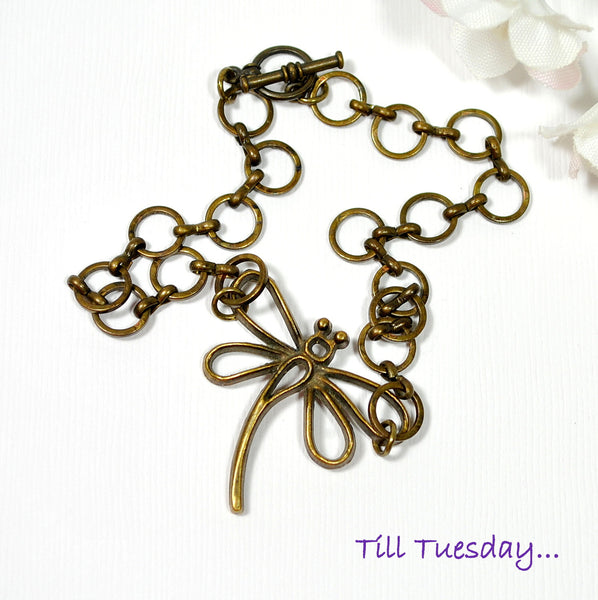 Dragonfly Anklet, Bronze Chain Anklet - Purple Moon Designs - 2