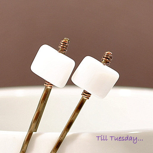 White Bobbies, Pair of White Bobby Pins - Purple Moon Designs - 1