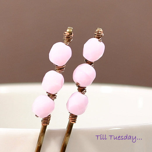 Pair of Pink Bobbies, Pink Beaded Bobby Pins - Purple Moon Designs - 2