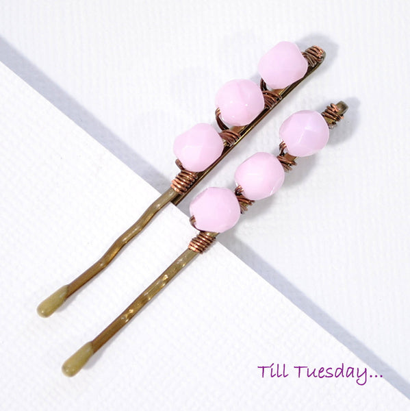 Pair of Pink Bobbies, Pink Beaded Bobby Pins - Purple Moon Designs - 3