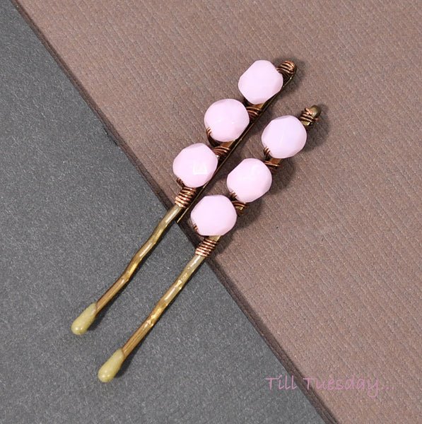 Pair of Pink Bobbies, Pink Beaded Bobby Pins - Purple Moon Designs - 4