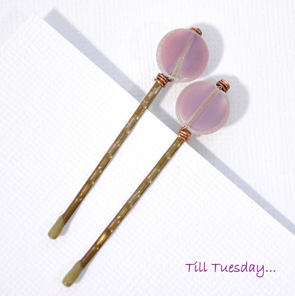 Pair of Light Purple Bobby Pins, Beaded Hair Pins - Purple Moon Designs - 2