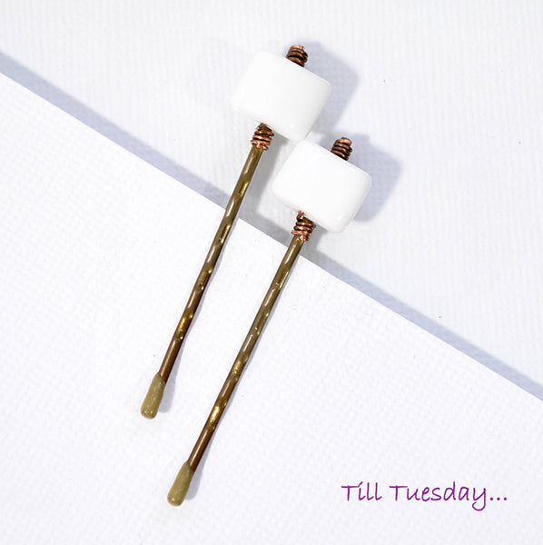 White Bobbies Pair of White Bobby Pins - Handmade by Purple Moon Designs