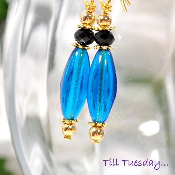 Aqua Blue Dangle Earrings - Handmade by Purple Moon Designs