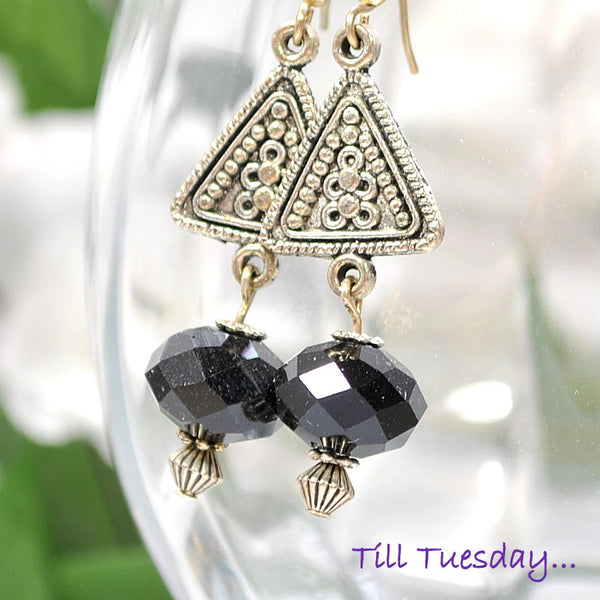 Black Silver Geometric Earrings, 1.75 inch Dangle - Handmade by Purple Moon Designs