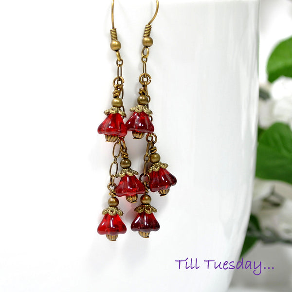 Red Flower Dangle Earrings, Bronze and Red Earrings 2.5 inch - Purple Moon Designs - 1