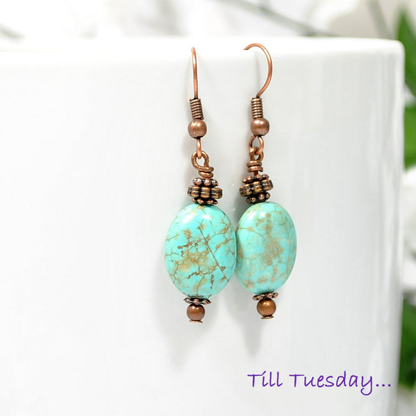 Blue Copper Dangle Earrings, Bohemian Jewelry - Handmade by Purple Moon Designs