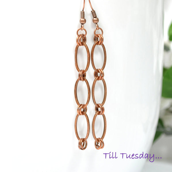 Copper Chain Earrings, 3 inch - Handmade by Purple Moon Designs