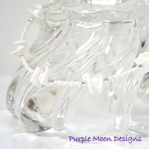 White Shell Anklet, Beach Ankle Bracelet - Handmade by Purple Moon Designs