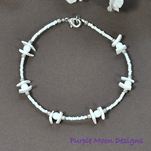 White Shell Anklet, 9 1/2 inch, Beach Anklet - Purple Moon Designs - 2
