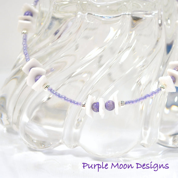 Beach Anklet Seashell Ankle Bracelet 9.5 inch Adjustable - Handmade by Purple Moon Designs