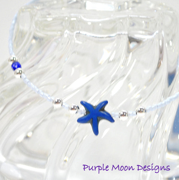 "Blue Starfish Anklet, Beach Jewelry, 9 1/2"" - Purple Moon Designs - 1"
