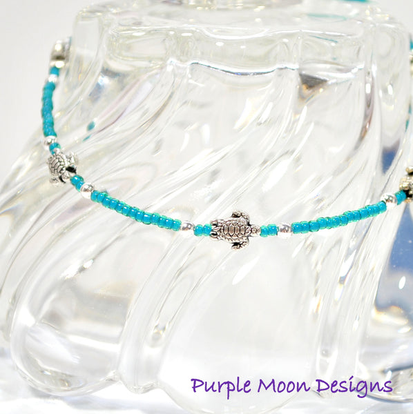 Sea Turtle Anklet, Silver Sea Turtles on Dark Tropical Blue Anklet, 9.5 inch - Purple Moon Designs