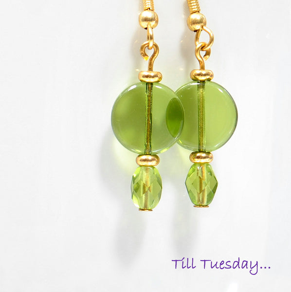 Green Gold Dangle Earrings, Green Drop Earrings, 2 inch - Handmade by Purple Moon Designs