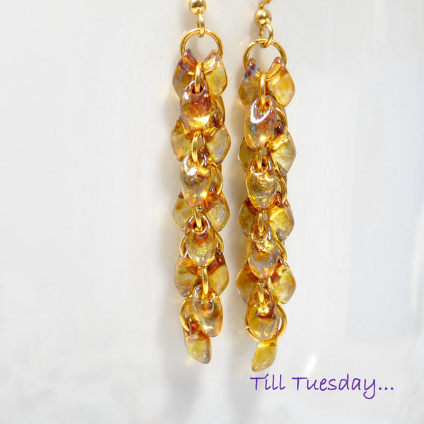 Golden Cluster Earrings, Amber Dangle Earrings - Purple Moon Designs - 1