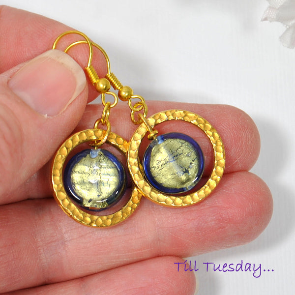 Blue Gold Geometric Earrings, 1.5 inch - Purple Moon Designs - 4