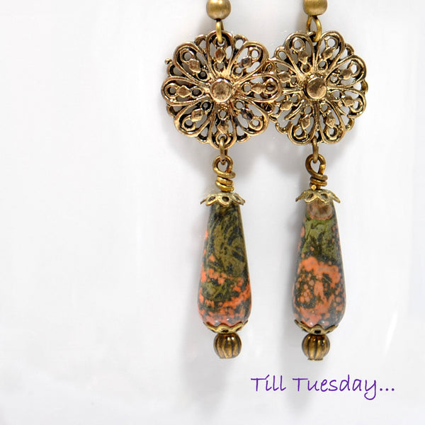 Bronze Dangle Earrings, Boho Earring 2 inch - Handmade by Purple Moon Designs