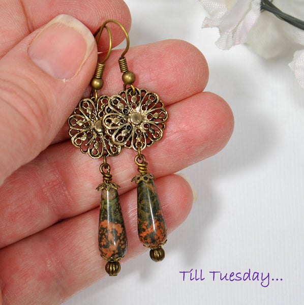 Bronze Dangle Earrings, 2 inch - Purple Moon Designs - 4