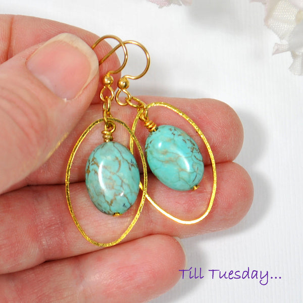 Turquoise Blue Dangle Earrings - Handmade by Purple Moon Designs
