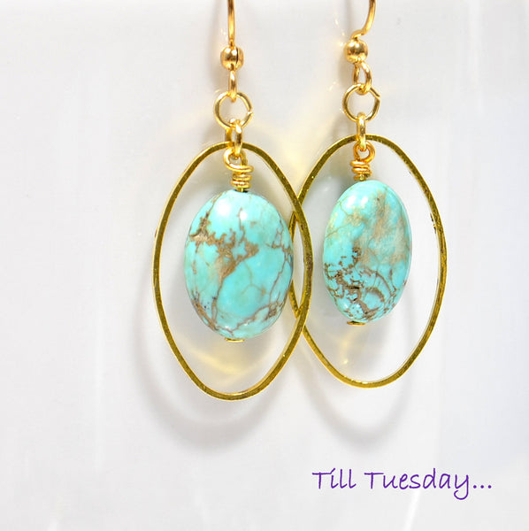 Turquoise Blue Dangle Earrings - Purple Moon Designs - 1