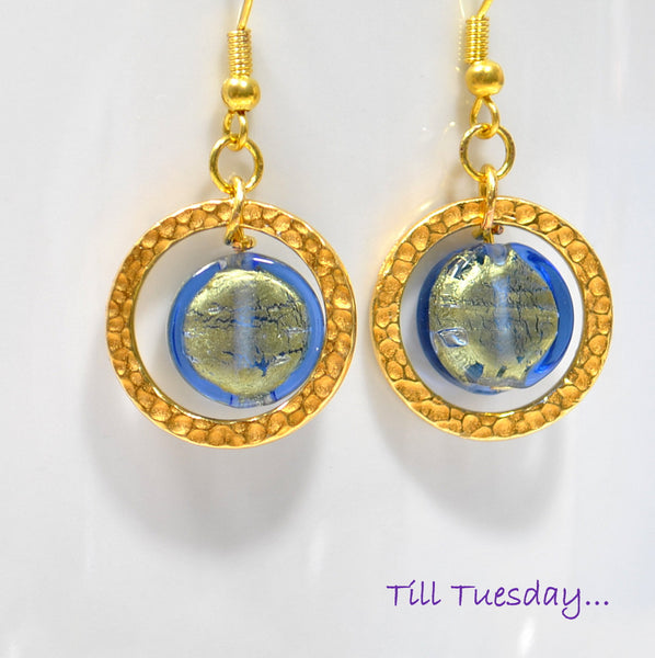 Blue Gold Geometric Earrings, 1.5 inch - Handmade by Purple Moon Designs
