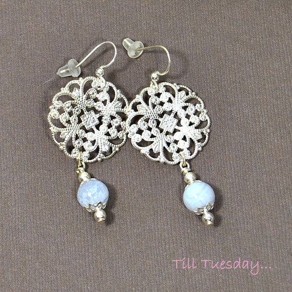 Ice Blue Silver Earrings, Blue Lace Agate on Silver Filigree Earrings, 2 inch - Purple Moon Designs - 3