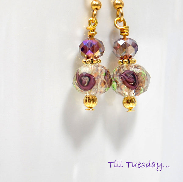 Purple Rose Earrings, Small Dangle Earring, 1 inch Drop Earrings - Purple Moon Designs - 1