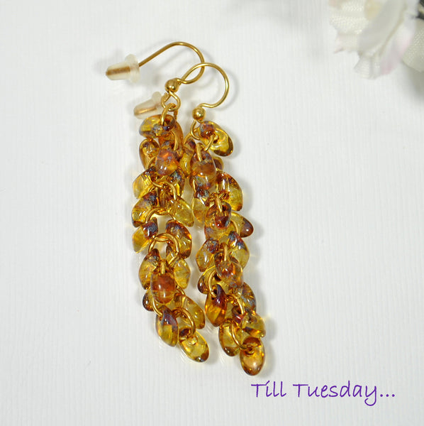 Golden Cluster Earrings, Amber Dangle Earrings - Handmade by Purple Moon Designs